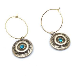 Boucles d'oreille creole bronze et pierre bleue